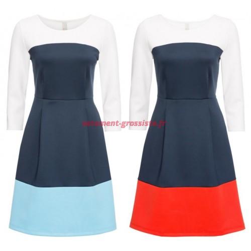 4c7c664180 Robe pour femme avec des couleurs de bloc robes 2 couleurs