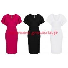 Robe Pour Femme À Manches Volants Robes Rose Noir Blanc