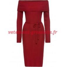 Robe en maille rouge Mesdames Carmen robe de cou