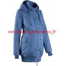 Veste de maternité pour femmes avec capuche et poignets côtelés bleu