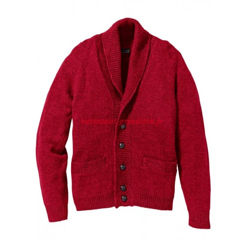 Cardigan homme rouge coupe regular